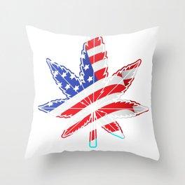 US Marijuana Throw Pillow