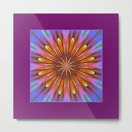 Modern Golden Mandala Daisy Metal Print