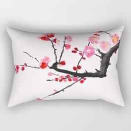 red plum flower red background Rectangular Pillow