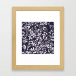 Indigo butterfly photograph duo tone blue and cream Framed Art Print