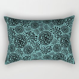 Flowery black Rectangular Pillow