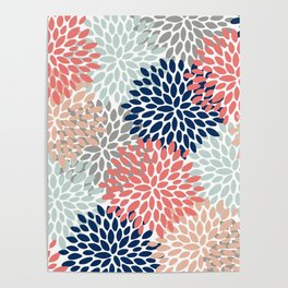 Floral Bloom Print, Living Coral, Pale Aqua Blue, Gray, Navy Poster