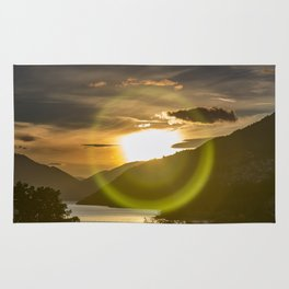 Golden Sunset on Queenstown and Lake Wakatipu Rug
