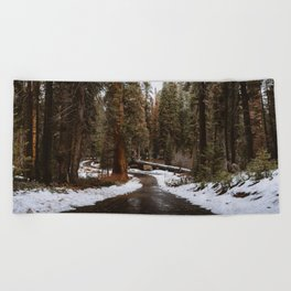 Tunnel Log Road in Sequoia Beach Towel