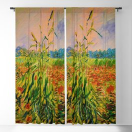 Classical Masterpiece 'A Field with Poppies' by Vincent van Gogh Blackout Curtain
