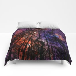 Black Twisted Tree Orange Blue Purple Space Comforters