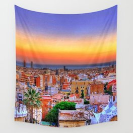 Barcelona Sunset Wall Tapestry