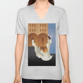 Art Deco Spain Flamenco dancer on sity landscape Unisex V-Neck