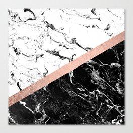 Modern black white marble color block rose gold Canvas Print