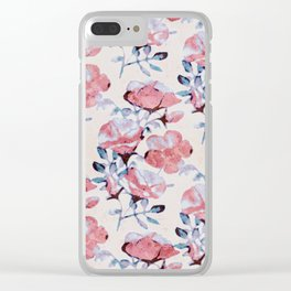 Sun Washed Beach Rose Print Clear iPhone Case