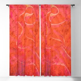 Flaming Rose, Floral Abstract Art Blackout Curtain