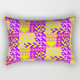 Geometrical abstract pink lilac neon yellow triangles pattern Rectangular Pillow