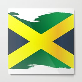 Jamaica Flag In Gold Green And Black With Grunge Border Metal Print