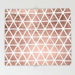 Geometric faux rose gold foil triangles pattern Throw Blanket