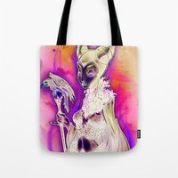 evil Tote Bags featuring EVIL by Tim Shumate