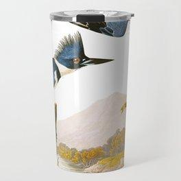 Belted Kingfisher John James Audubon Vintage Scientific Illustration American Birds Travel Mug