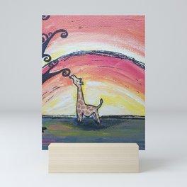Giraffe Has a Snack Mini Art Print