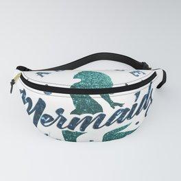 Mermaids - aqua and green glitter design Fanny Pack