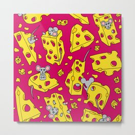 Mice and Swiss Cheese Red Metal Print