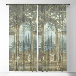 """Diego Velázquez """"View of the Garden of the Villa Medici in Rome (The Sleeping Ariadne)"""" Sheer Curtain"""