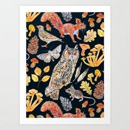Autumn Wildlife Pattern - Dark Art Print