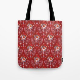 Red Vintage Flowers Tote Bag