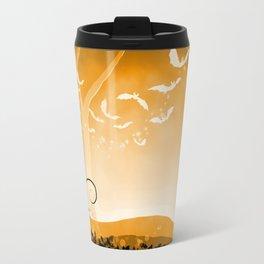 Dark Forest at Dawn in Amber Travel Mug