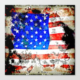 Extreme Grunge American Flag Canvas Print