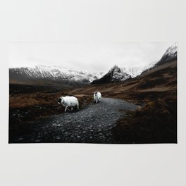 SHEEP - MOUNTAINS - SNOW - ROAD - PHOTOGRAPHY - FUNNY Rug