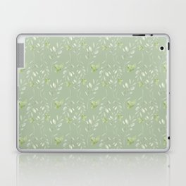 Mint green watercolor hand painted floral leaves Laptop & iPad Skin