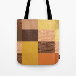 Fall Mustard Orange Golden Brown Checkered Gingham Patchwork Color Tote Bag