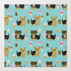 Yorkie ice cream gifts yorkshire terrier dog lover pet friendly patterns minty Canvas Print