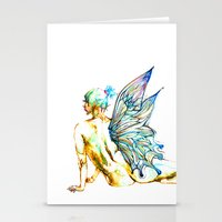 tinker bell Stationery Cards featuring Tinker Bell with one wing by Chien-Yu Peng