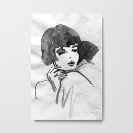 Black and white ink illustration movie poster Metal Print