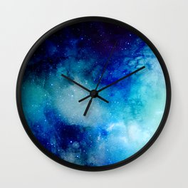 Blue Watercolor Space Pattern Wall Clock