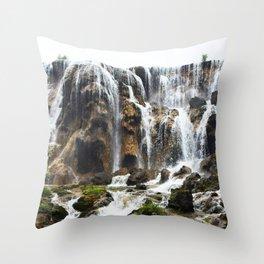 Pearl Shoal Waterwall // Jiuzhaigou Valley Throw Pillow