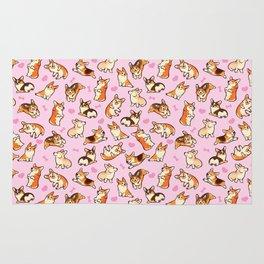 Lovey corgis in pink Rug