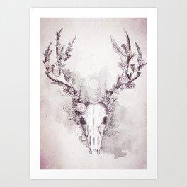 Woodland Stag in Grey Art Print