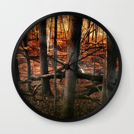 Sky Fire - surreal landscape photography Wall Clock
