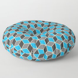 Blue Grey Cube Pattern Floor Pillow