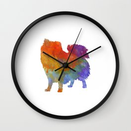 Italian Volpino in watercolor Wall Clock