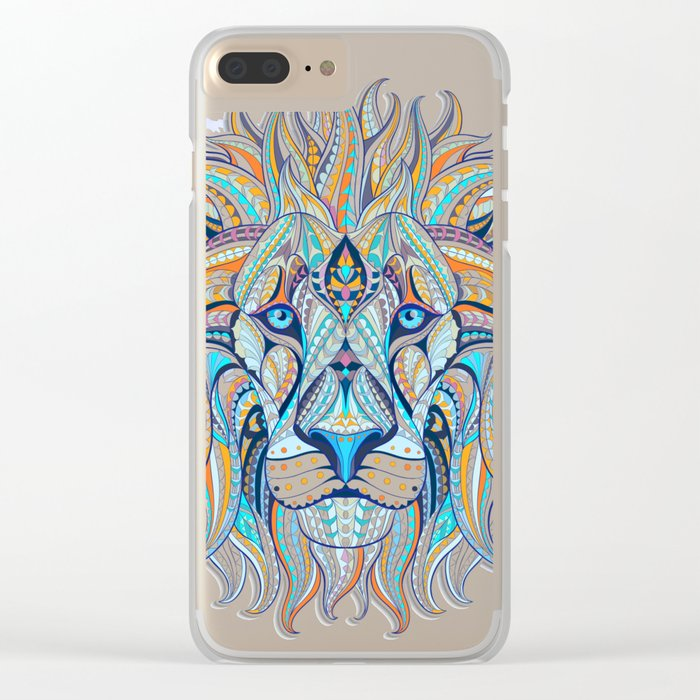 Blue Ethnic Lion Clear iPhone Case