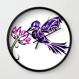 Hummingbird W/ Flower Wall Clock