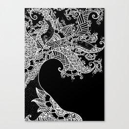 Zen Tree Rebirth Black Right Half Canvas Print