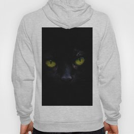 Black Cat Green Eyes Face (Color) Hoody