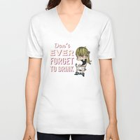 drunk V-neck T-shirts featuring DRUNK GIRL by flydesign