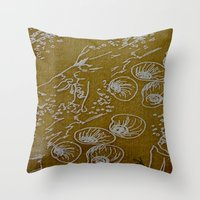 shells Throw Pillows featuring Shells by ANoelleJay