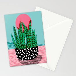 Edgy - wacka potted indoor house plant hipster retro throwback minimal 1980s 80s neon pop art Stationery Cards