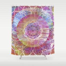 Glitch Mandala Shower Curtain