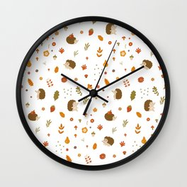 children hedgehog pattern, forest design Wall Clock